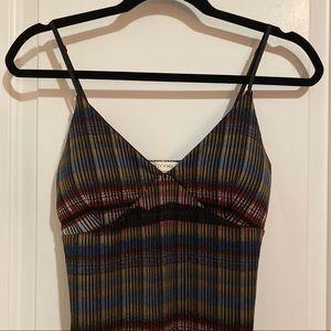 Multicolor Stripe Black Dress